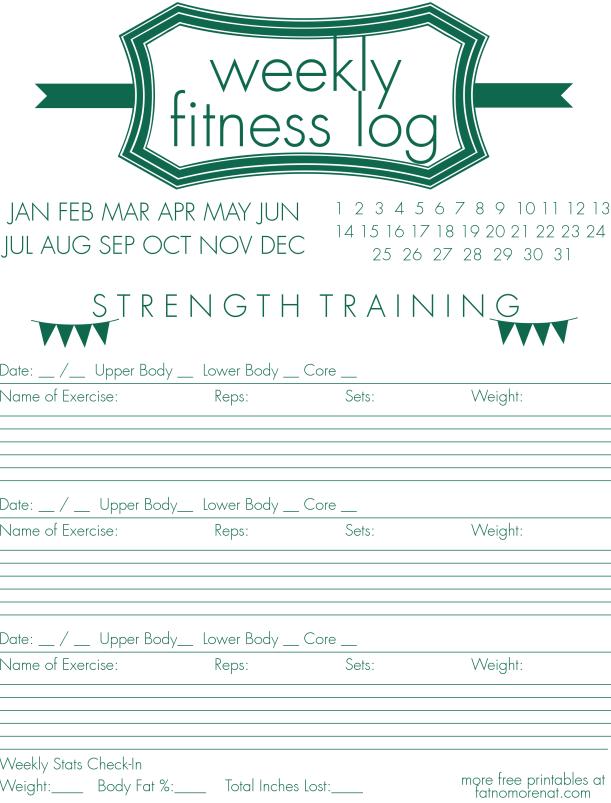 Free Printable u2013 Weekly Strength Training Log u2013 NoSanchez ...