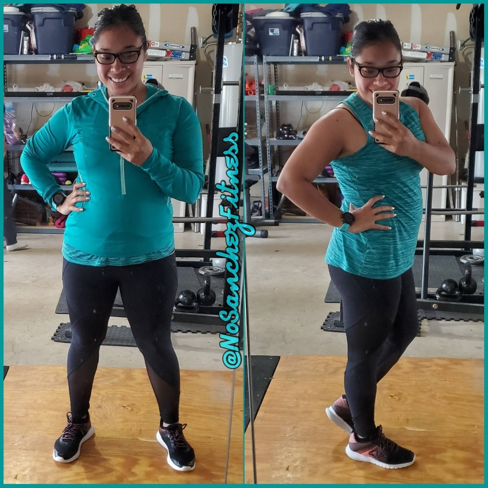 Latina mom in home gym seven months post baby